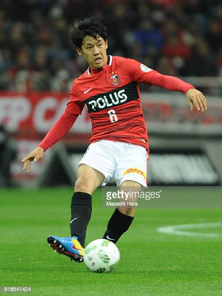 Wataru Endo of Urawa Red Diamonds in action during the JLeague match between Urawa Red Diamonds and Ventforet Kofu at the Saitama Stadium on April 1...