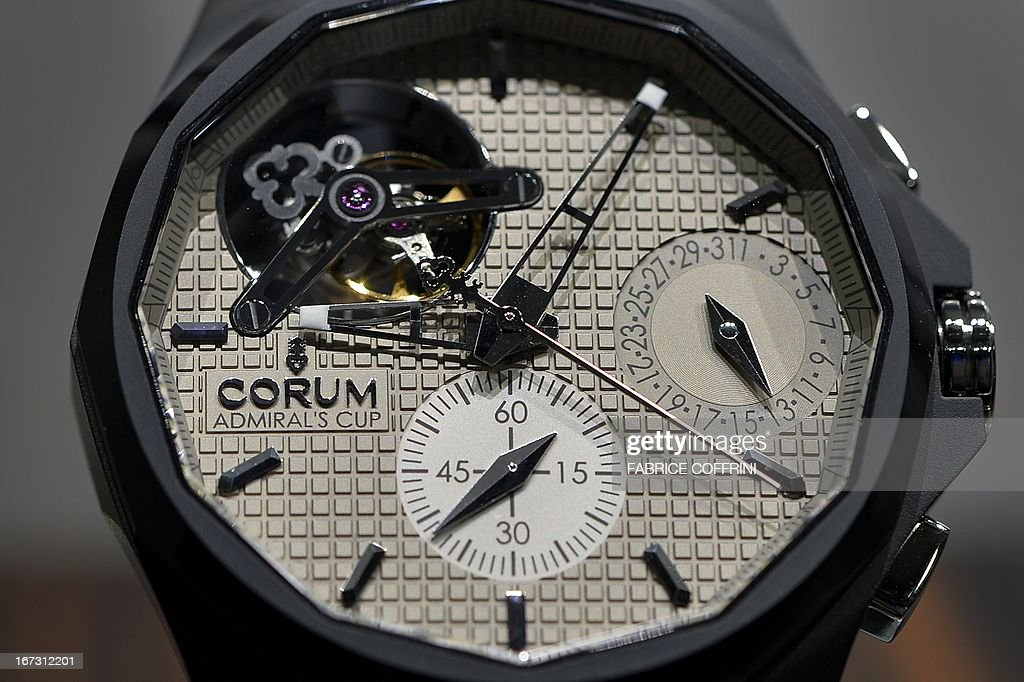 A watch by Swiss watchmaker Corum is displayed at a press preview day of watch fair Baselworld on April 24, 2013 in Basel. Swiss watches Corum were bought by Chinese group China Haidian, according to a statement released by the Swiss company. The amount of the transaction, announced on the eve of the opening of the largest international watch fair Baselworld, was not disclosed. This is the first acquisition in the Swiss haute horlogerie by a Chinese group.