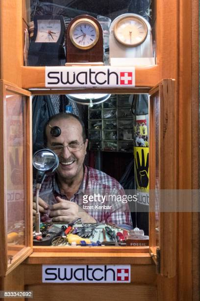 A watch repair shop and his owneri Grand Bazaar, Istanbul Turkey