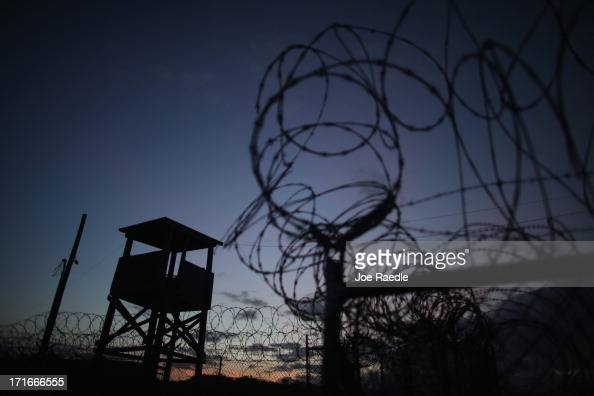 A watch tower is seen in the currently closed Camp XRay which was the first detention facility to hold 'enemy combatants' at the US Naval Station on...