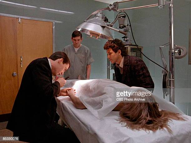 Watched by Canadian actor Michael Ontkean American actor Kyle MacLachlan examines the hand of Germanborn American actress Sheryl Lee in a scene from...