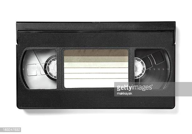 A watched VHS tape with a blank label