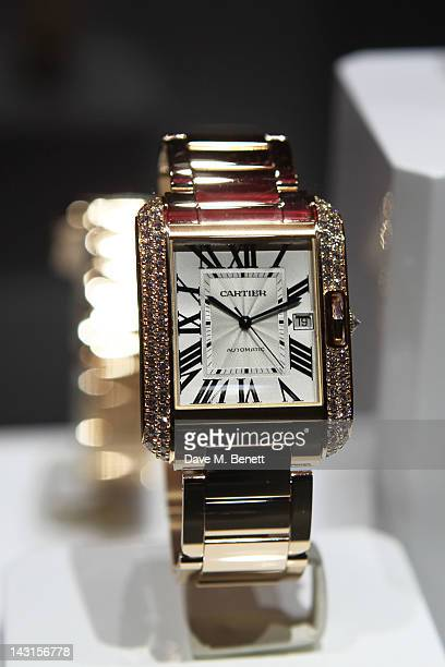 Watches are displayed at the launch party for the Cartier Tank Anglaise Watch Collection at The Orangery on April 19 2012 in London England