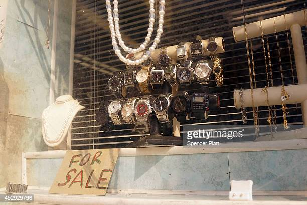 Watches are viewed at a pawn shop in Atlantic City on July 30 2014 in Atlantic City New Jersey Since January of 2014 four of Atlantic City's 11...