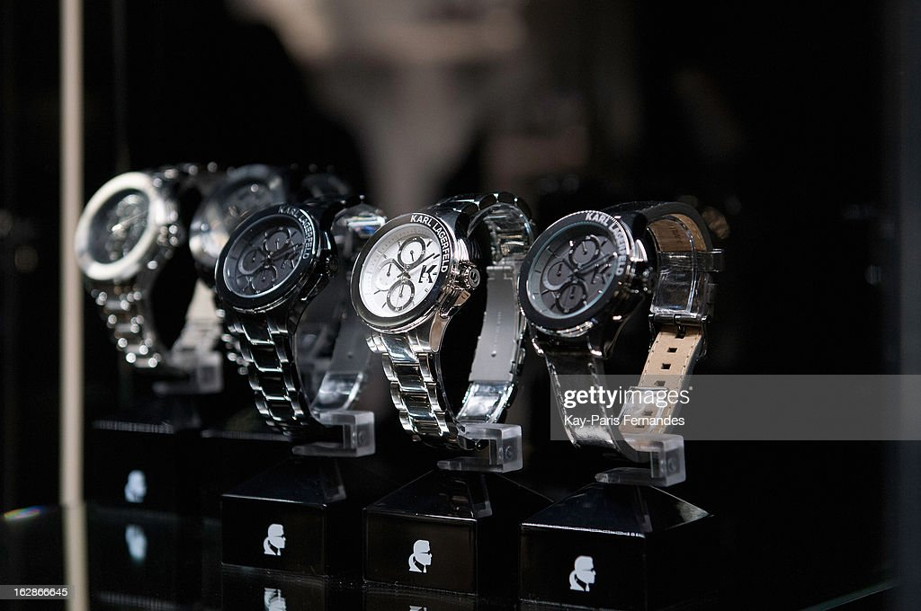 Watches at the Karl Lagerfeld's Concept Store Opening as part of Paris Fashion Week on February 28, 2013 in Paris, France.