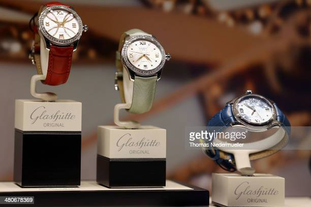 Watches of Glasheutte Original are seen on display at Baselworld luxury watch and jewelry fair on March 26 2014 in Basel Switzerland