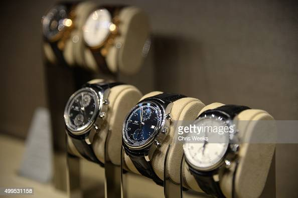 Watches on display at IWC Schaffhausen Rodeo Drive Flagship Boutique Opening on December 1 2015 in Beverly Hills California