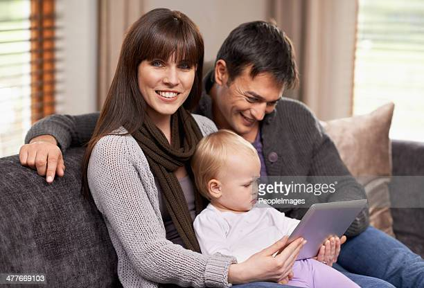 Watching a movie with mommy and daddy