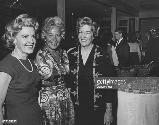 Watching party progress are cohostesses from left Mrs Lewis Hayden Mrs Nicholas Petry and Mrs Ward Terry mothers of the three debutantes honored...
