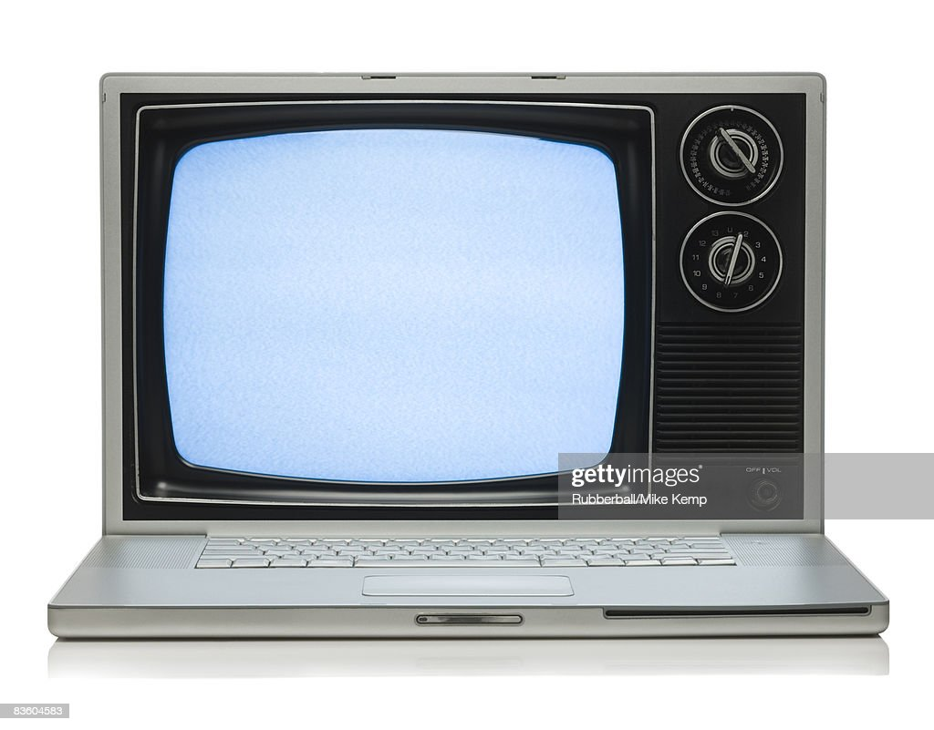 watching tv on a laptop : Stock Photo