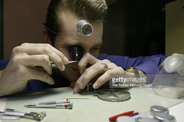 Watchmaker and repairer Aaron Taylor from Max Schweizer Sydney 15 September 2004 SMH Picture by JENNIFER SOO