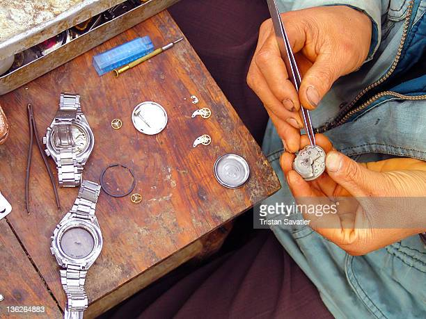 Watchmaker fixing mechanical in watch
