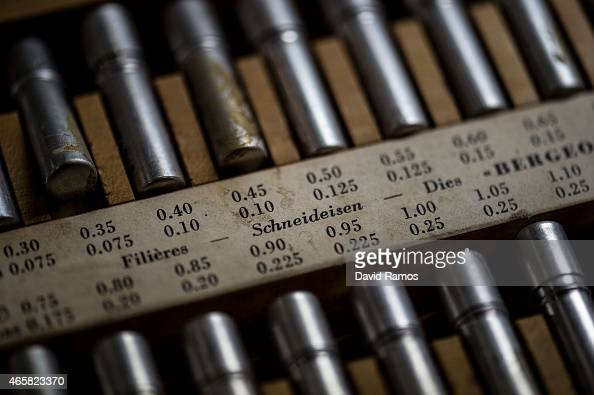 Watchmaker's tools are seen during a class at the secondary school Mare de Deu de la Merce on March 10 2015 in Barcelona Spain The Watchmaking School...