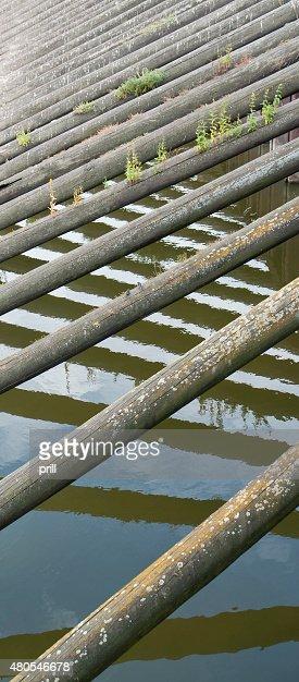 Agua y agujas de madera : Foto de stock