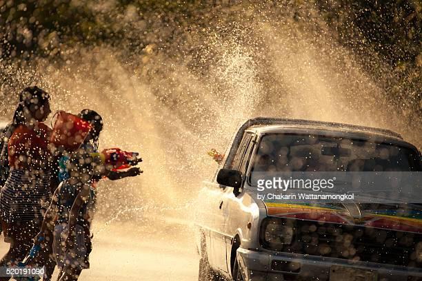 Water Battle (Songkran Festival in Chanthaburi)