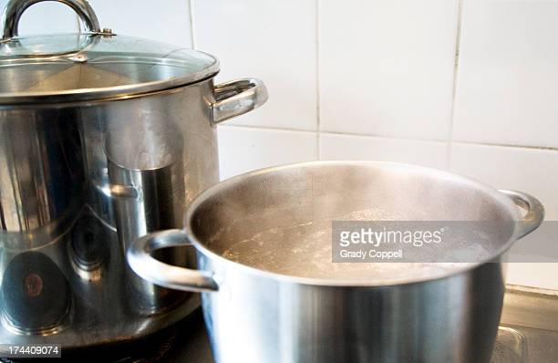 Water boiling in pan