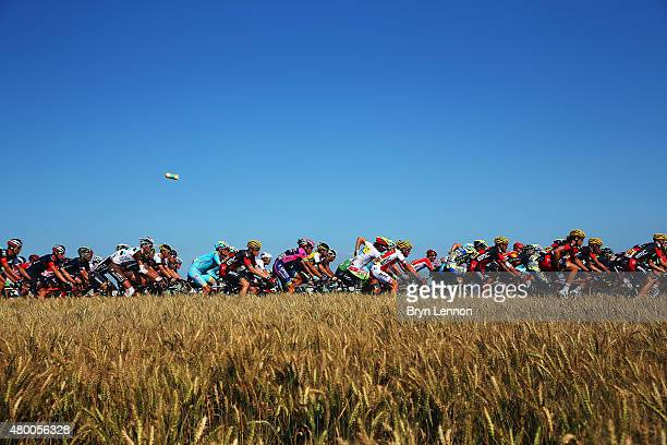 A water bottle is thrown from the peloton as it rides through the French countryside during stage six of the 2015 Tour de France a 1915km stage...