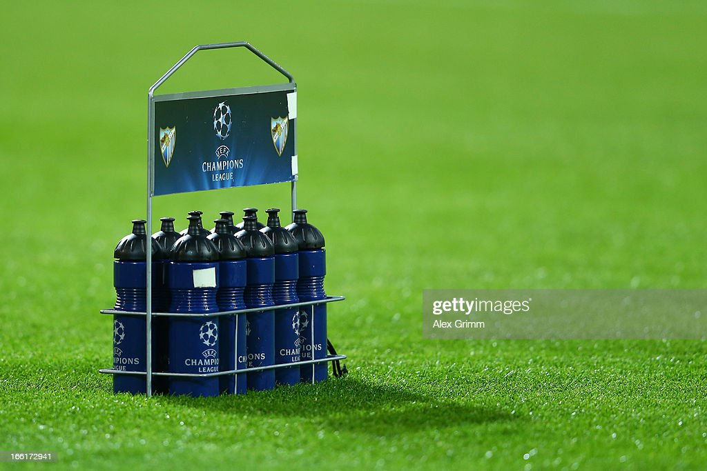 Water bottles are seen on the pitch ahead of the UEFA Champions League quarter-final second leg match between Borussia Dortmund and Malaga at Signal Iduna Park on April 9, 2013 in Dortmund, Germany.