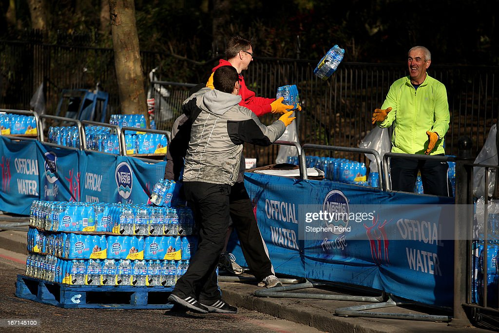 Water bottles are unloaded at a water station before the Virgin London Marathon on April 21, 2013 in LONDON, ENGLAND.