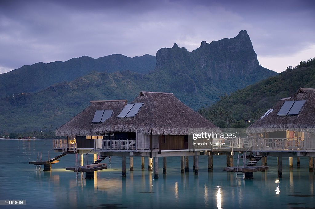 Water bungalows, Hilton resort.