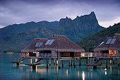 Water bungalows, Hilton resort.