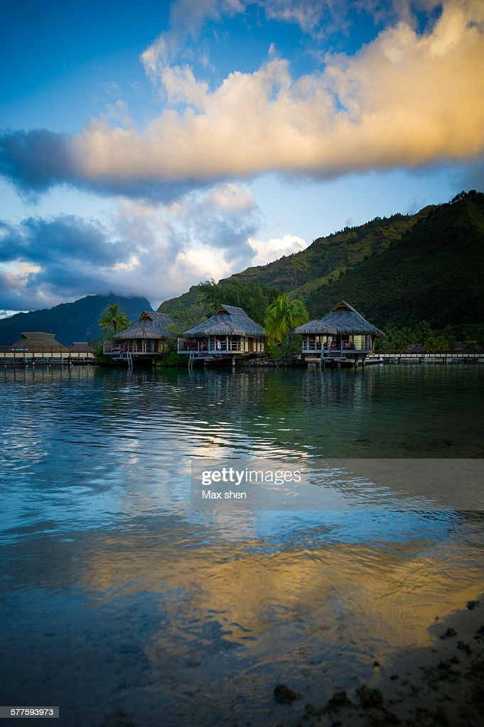 Water bungalows in beach