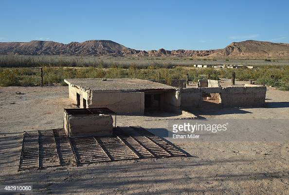 A water cistern is shown next to ruins of a structure in the ghost town of St Thomas on August 3 2015 in the Lake Mead National Recreation Area...