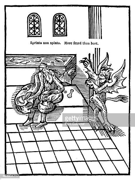 Water Closet 1556 A man sitting on a toilet being menaced by a demonic creature From The Metamorphosis of Ajax by Sir John Harrington Harrington...