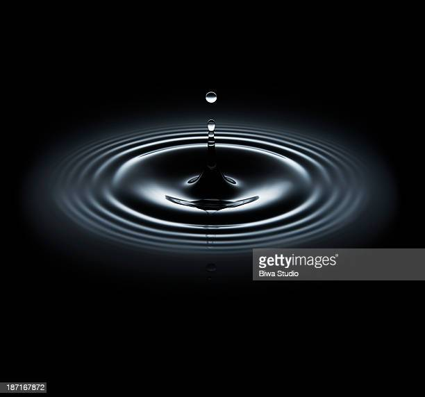 Water drop making ripple on black background