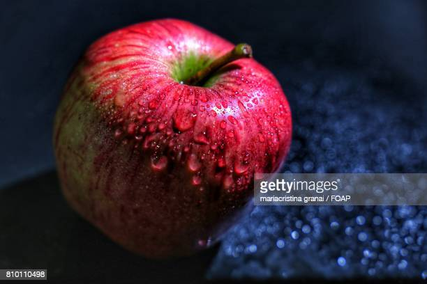 Water drop on apple