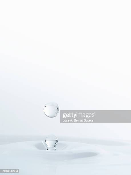 Water drop on having struck on a surface of transparent water