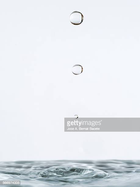 Water drop striking on stagnant water