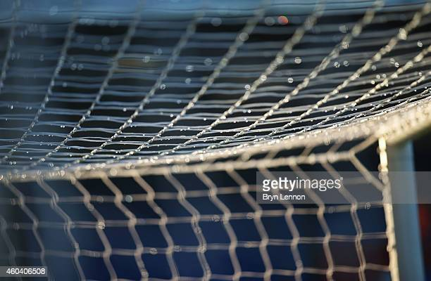 Water droplets are seen on the goal net prior to the Barclays Premier League match between Crystal Palace and Stoke City at Selhurst Park on December...