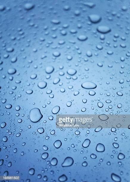 Water drops on a polished blue motorhood