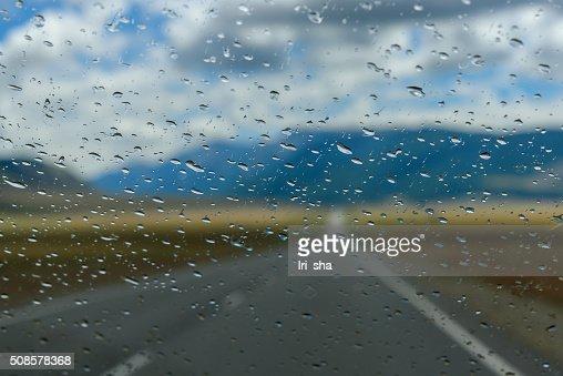 water drops window rain car : Stock Photo