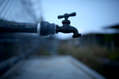 A water faucet is seen in the now closed Camp XRay which was the first detention facility to hold 'enemy combatants' at the US Naval Station on June...