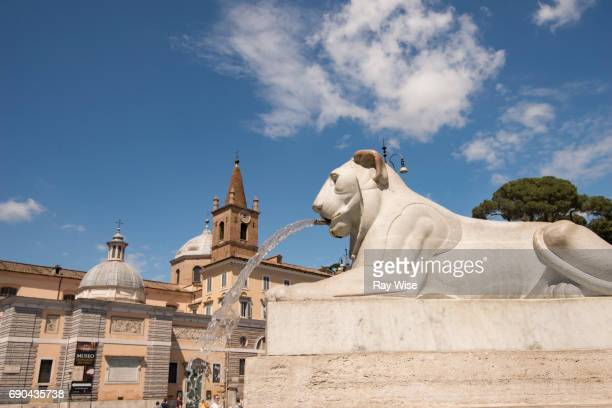 Water feature / fountain in Piazza del Popolo, Rome, Italy.
