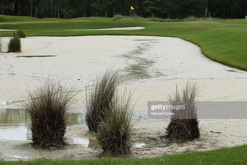 A water filled bunker is seen during a weather suspension of the third round of the Web.com Tour Championship held on the Dye's Valley Course at TPC Sawgrass on September 28, 2013 in Ponte Vedra Beach, Florida.