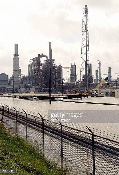 Water floods the idle Valero Oil Refinery 25 September 2005 in Port Arthur Texas in the aftermath of Hurricane Rita The US oil industry still reeling...