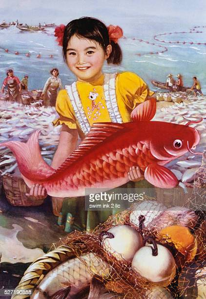 Water Flow in Mountain and Fish Full in Basket Poster