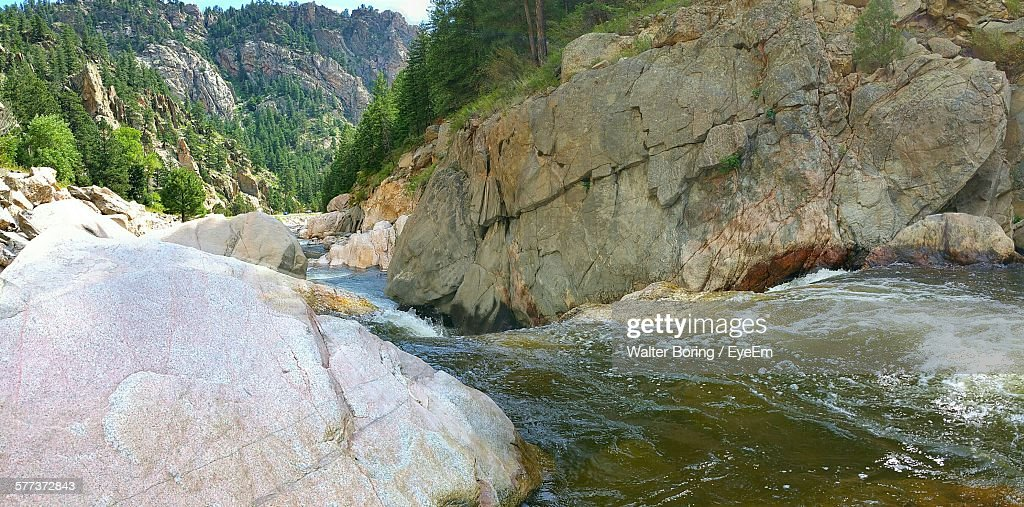 Water Flowing Between Rocks At Big Thompson River