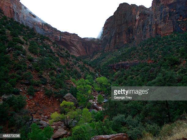 Water flows down Pine Creek in Zion's National Park a possible location where lost hikers might be on September 15 2015 in Springdale Utah Four...