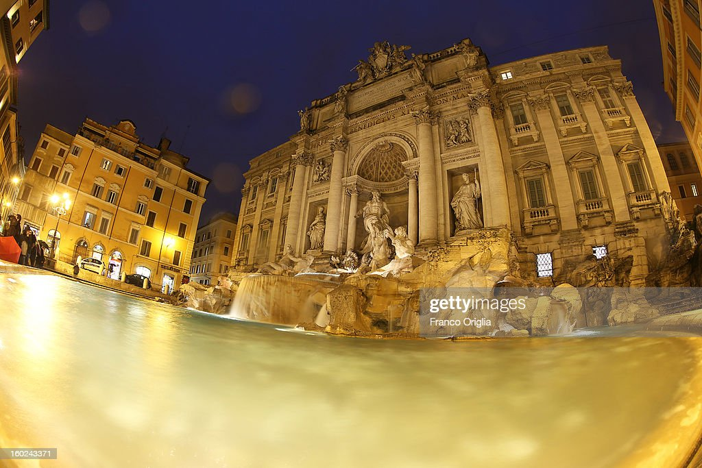 Water flows out of Trevi Fountain on January 28, 2013 in Rome, Italy. FENDI Chairman and CEO Pietro Beccari together with Karl Lagerfeld and Silvia Venturini Fendi and the representatives of the City of Rome, including the Mayor Gianni Alemanno, today announced the sponsorship of the restoration of Rome's most iconic fountain.