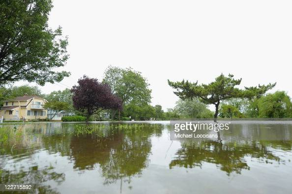 Water from Hurricane Irene causes flooding in neighborhoods on August 28 2011 in Spring Lake Heights New Jersey While Hurricane Irene has now been...