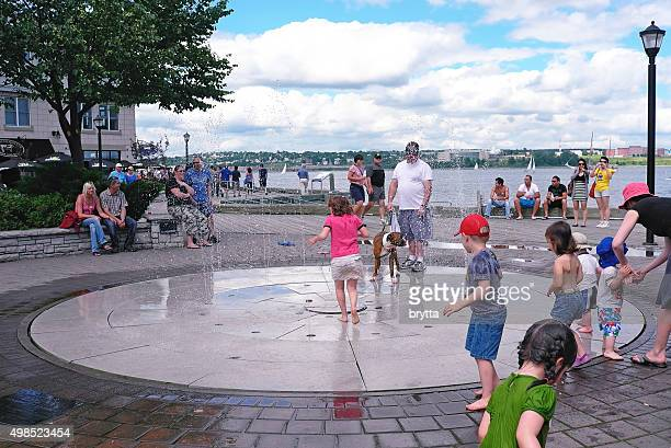 Water fun at the fountain in Halifax,Nova Scotia,Canada