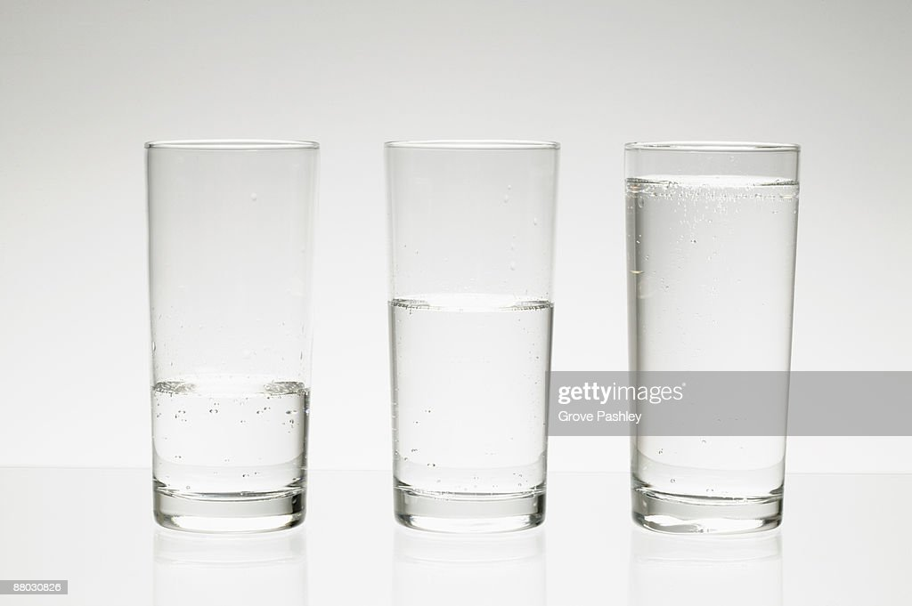 Water glasses at different water levels