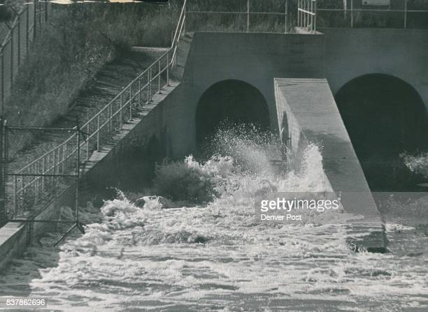Water Gushes From Release Gate Below Cherry Creek Dam As Level Of Reservoir Is Lowered Two 9by6foot gates were opened releasing 500 cubic feet per...