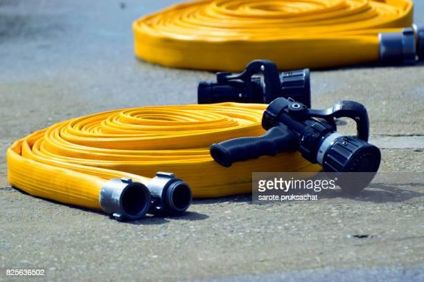 Water hose ,fire fighting equipment for fire fighter . Fireman equipment .