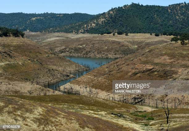 Water is seen at the bottom of the New Melones Lake reservoir which is now at less than 20 percent capacity as a severe drought continues to affect...