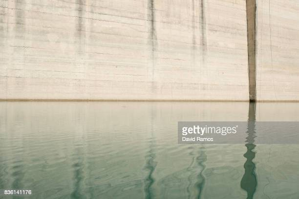 Water level is seen marked on the dam of Entrepenas reservoir second largest water reservoir feeding the Segura River and Spain's Southeastern...